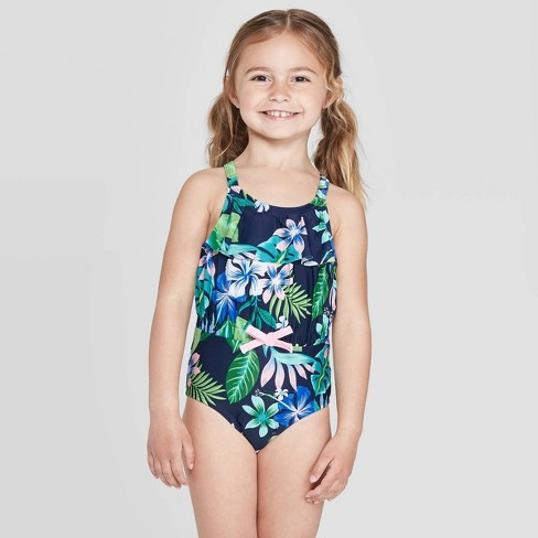 2c6c530e1c Toddler Girls' Belted Waist Tropical One Piece Swimsuit - Green : Target