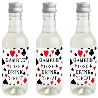 Big Dot of Happiness Las Vegas - Mini Wine and Champagne Bottle Label Stickers - Casino Party Favor Gift for Women and Men - Set of 16