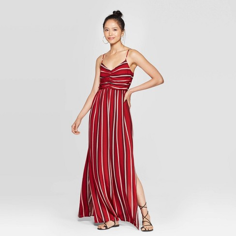Women's Striped Sleeveless V-Neck Cinched Top Maxi Dress - Xhilaration™ Chili Pepper - image 1 of 2