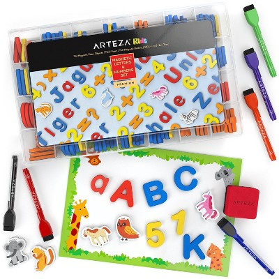 Arteza Magnetic Letters, Numbers Set, Board, 6 Markers & Eraser, Set of 214