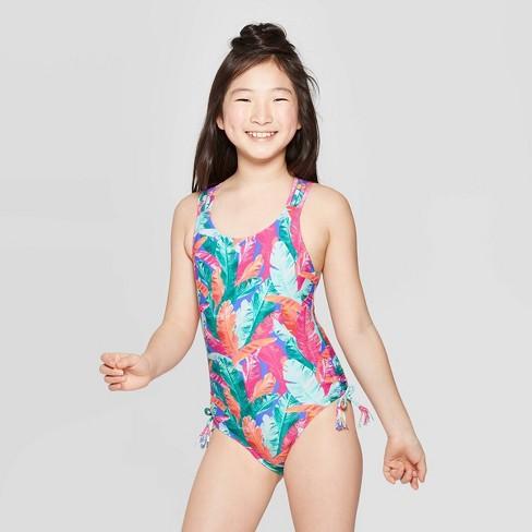 Girls' Palm Night One Piece Swimsuit - art class™ Pink - image 1 of 3