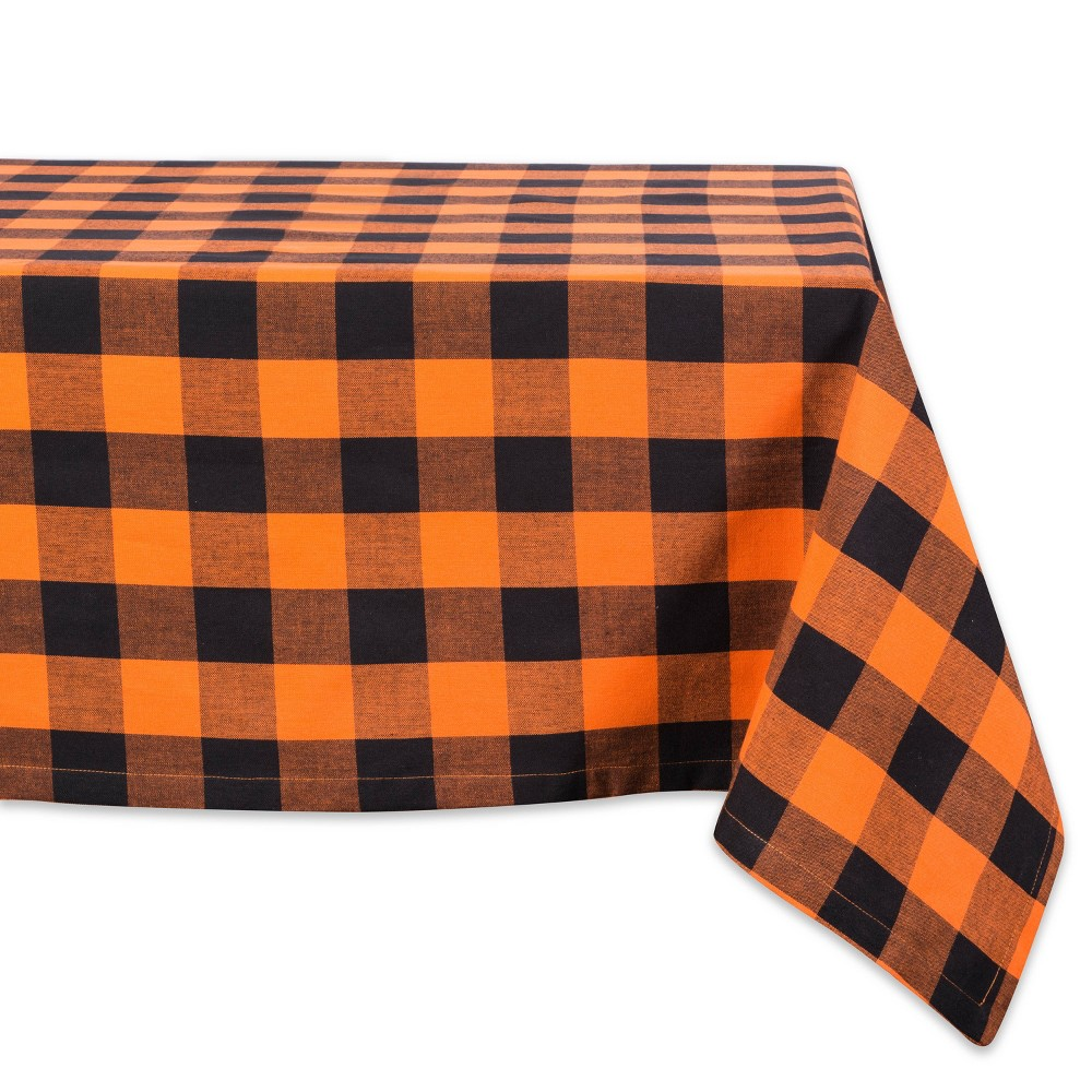 "Image of ""120""""x60"""" Buffalo Check Tablecloth Orange/Black - Design Imports"""