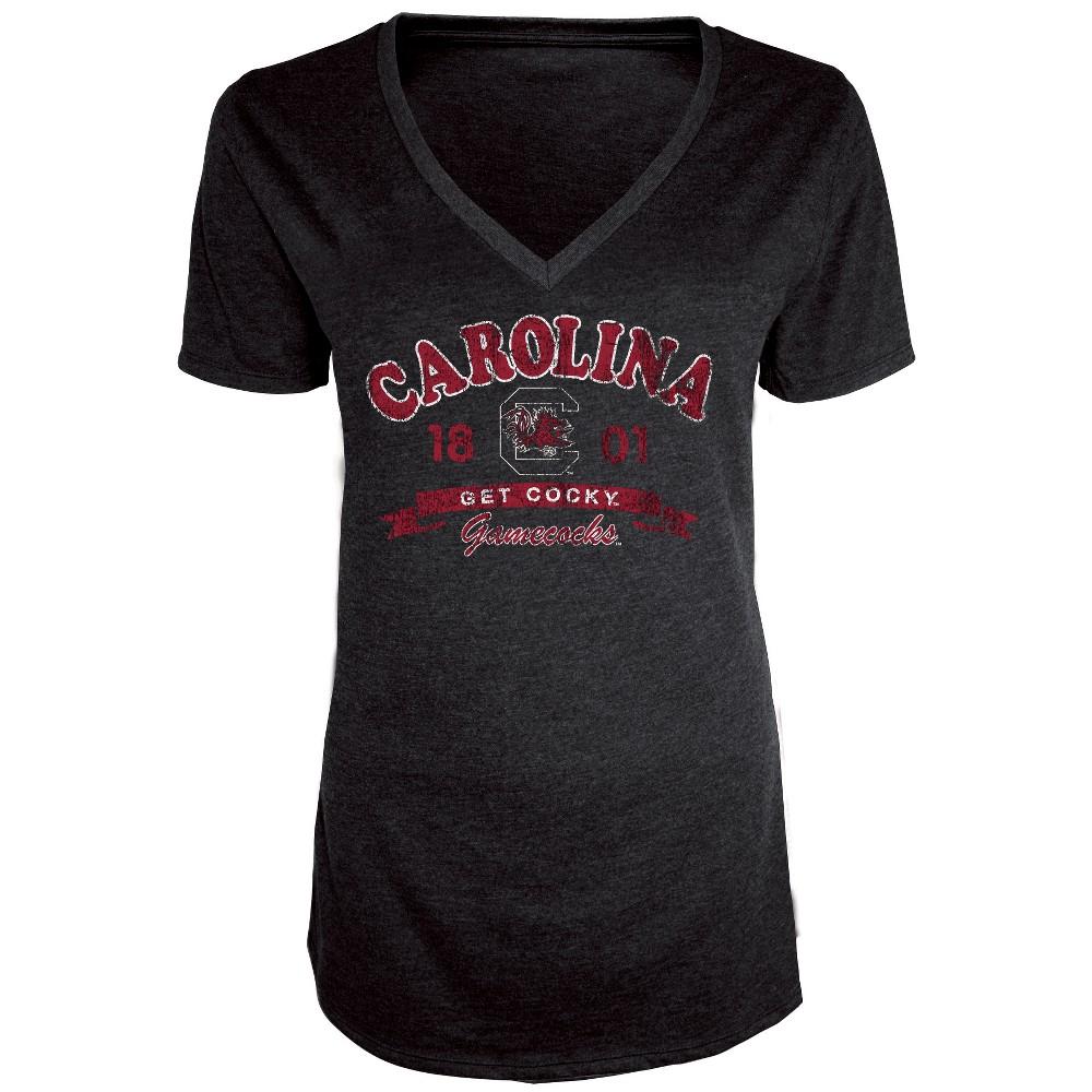 South Carolina Gamecocks Women's Short Sleeve Heathered V-Neck T-Shirt - XL, Multicolored