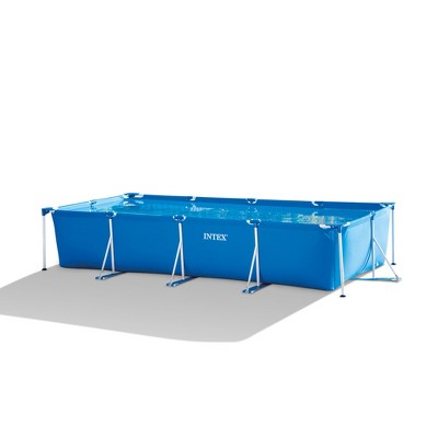 Intex 28279EH 14ft x 33in Puncture Resistant Rectangular Frame Above Ground Backyard Outdoor Swimming Pool with 530 Gallon Filter