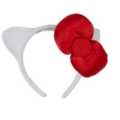 A Leading Role Sanrio Hello Kitty White Costume Headband With Red Bow