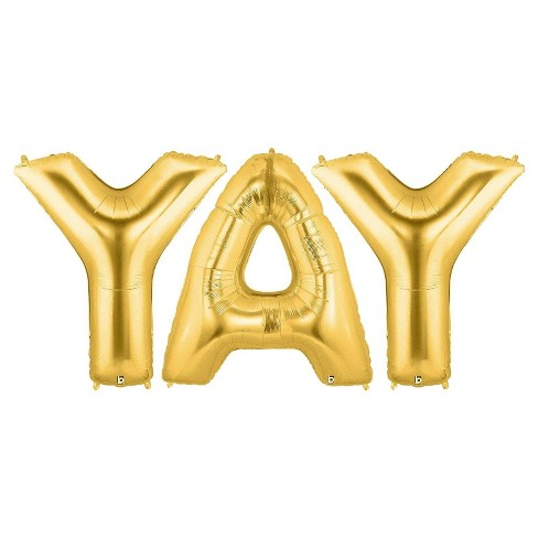 """YAY"" Jumbo Gold Foil Balloons - image 1 of 1"