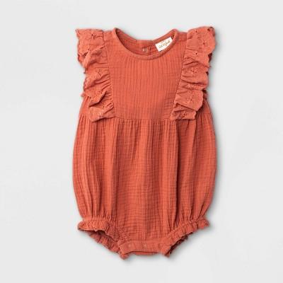 Baby Girls' Gauze Romper - Cat & Jack™ Orange 3-6M