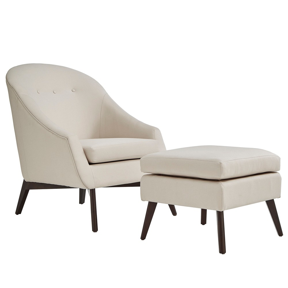 Inspire Q Jessa Mid Century Wood Base Accent Chair and Ottoman Linen Oatmeal Brown