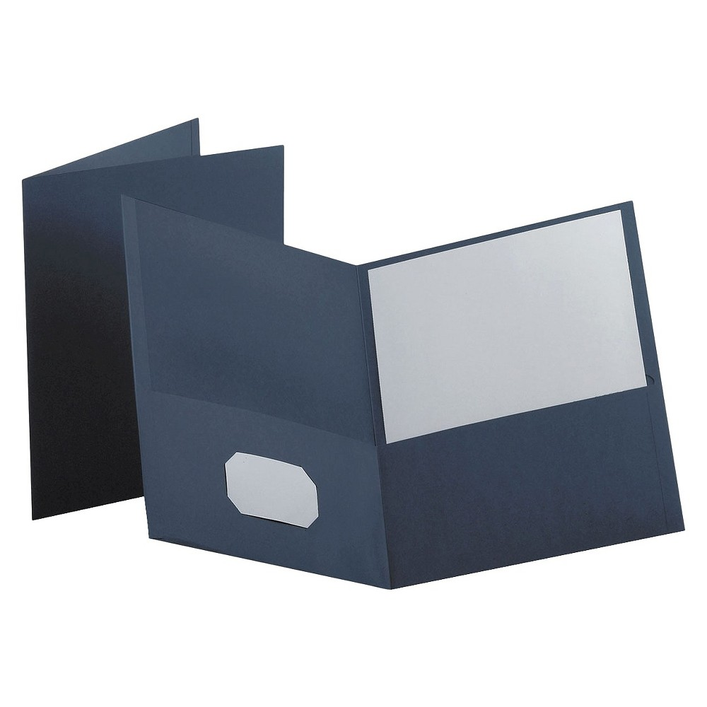 Oxford Twin-Pocket Portfolio with Embossed Leather Grain Paper - Dark Blue (Box of 25) Leatherette-grained stock provides a richer look and feel. Die-cut business card slot on inside front pocket keeps contact information at hand. Color: Dark Blue.