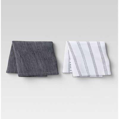 2pk Cotton Fringed Chambray Woven Kitchen Towels - Threshold™