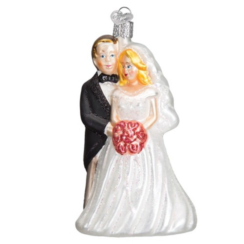 "Old World Christmas 5"" Bridal Couple Wedding Christmas Ornament - White/Black - image 1 of 4"