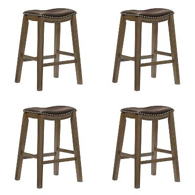 "Homelegance 29"" Pub Height Wooden Bar Stool Saddle Seat Barstool, Brown (4 Pack)"