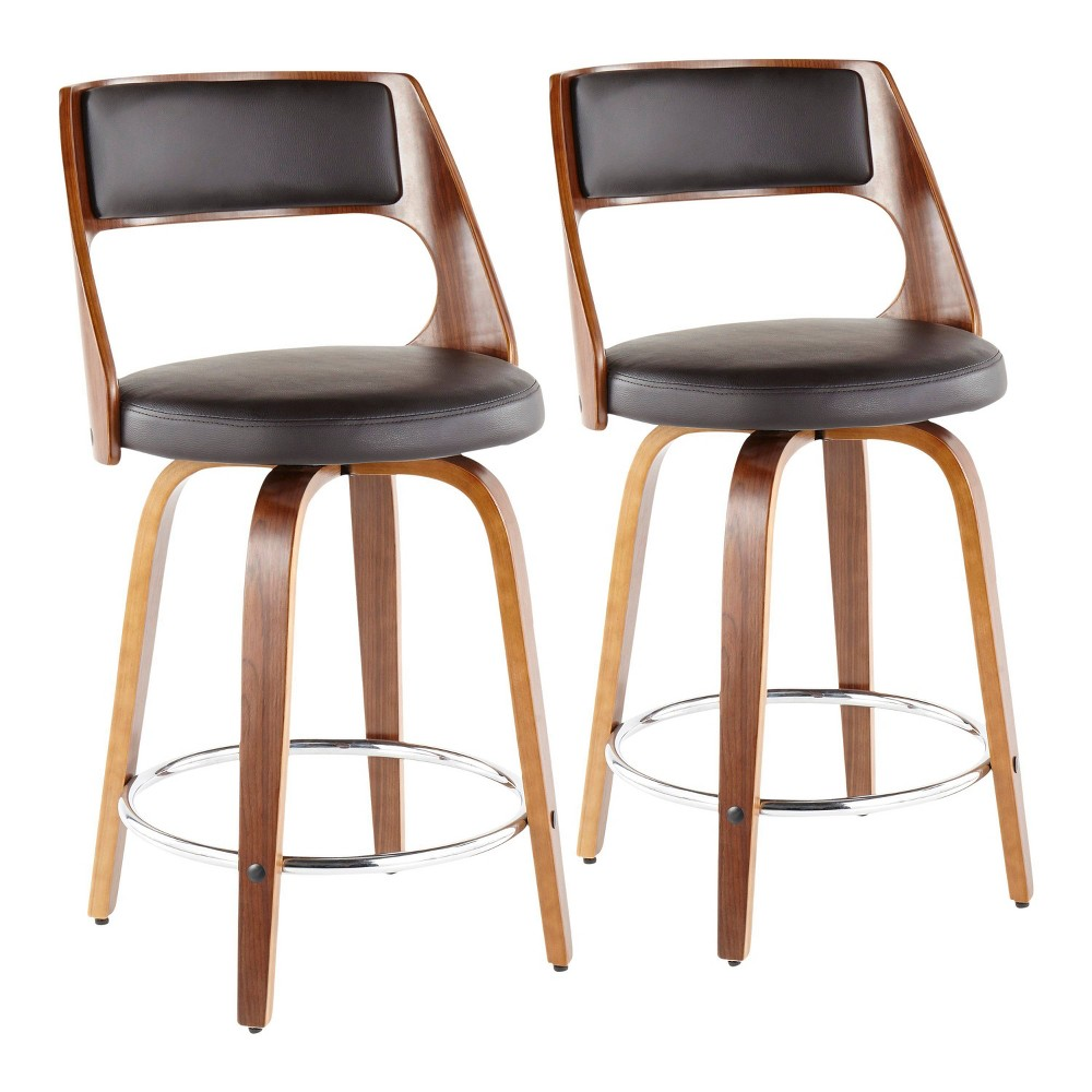 Terrific Set Of 2 Cecina Mid Century Modern Counter Stool With Swivel Pdpeps Interior Chair Design Pdpepsorg