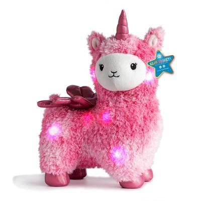"FAO Schwarz Glow Brights Toy Plush LED with Sound Llamacorn 15"" Stuffed Animal"