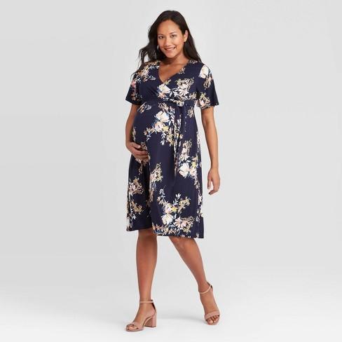 Short Sleeve Knit Wrap Maternity Dress Isabel Maternity By Ingrid Isabel Target