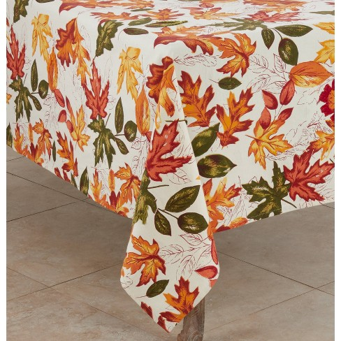 "65"" X 65"" Embroidered Autumn Leaves Tablecloth - SARO Lifestyle - image 1 of 2"