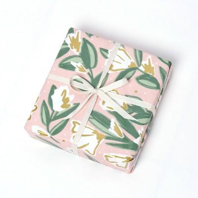 Floral Gift Wrap White/Metallic Gold - Spritz™