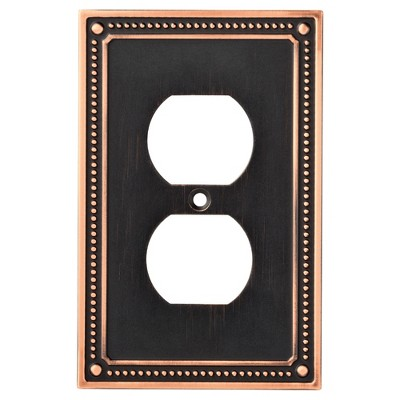 Franklin Brass Classic Beaded Single Duplex Wall Plate Bronze With Copper Highlights