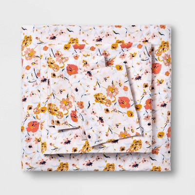 Queen Printed Easy Care Cotton Sheet Set Blush Floral - Opalhouse™