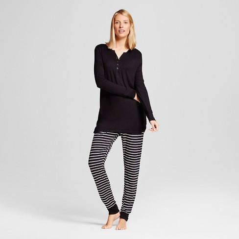 Lamaze Women's Nursing Henley Long Sleeve Shirt and Pants Pajamas Set - Black XXL - image 1 of 3