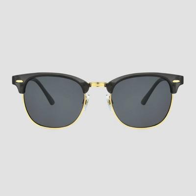 Women's Retro Browline Sunglasses with Mirror Polarized Lenses - A New Day™ Gray