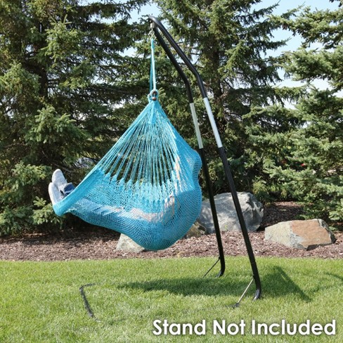 Caribbean Hanging Rope Hammock Chair Sky Blue Sunnydaze Decor