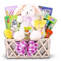 Alder Creek Gifts Country Easter Basket with Sour Patch Candies, Laffy Taffy, A Plush Bunny Friend & More