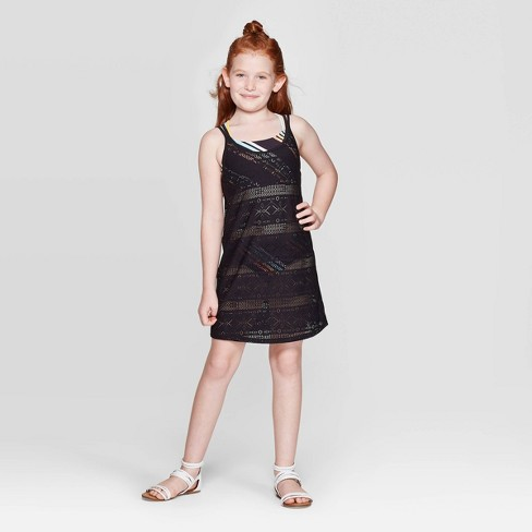 Girls' Enchanted Crochet Cover Up Dress - art class™ Black - image 1 of 3
