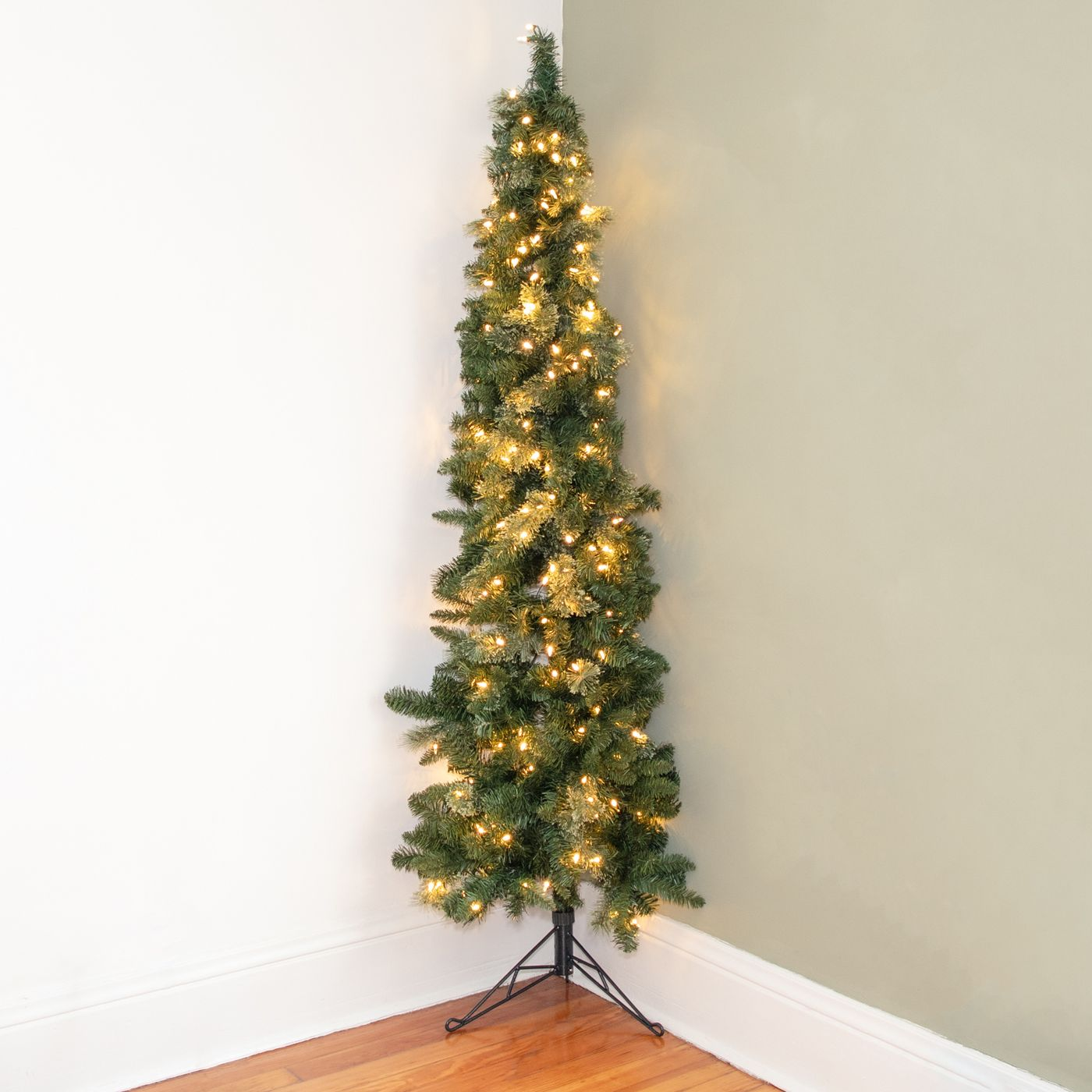 Home Heritage 5 Foot Pre-Lit Slim Indoor Artificial Corner Christmas Holiday Tree with White LED Lights, Folding Metal Stand and Easy Assembly - image 2 of 6