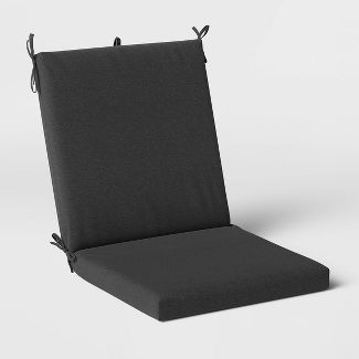 Woven Outdoor Chair Cushion DuraSeason Fabric™ Charcoal - Threshold™