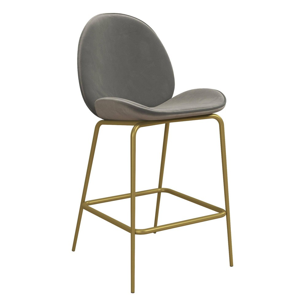 Image of Astor Velvet Upholstered Counter Stool Gray - CosmoLiving by Cosmopolitan