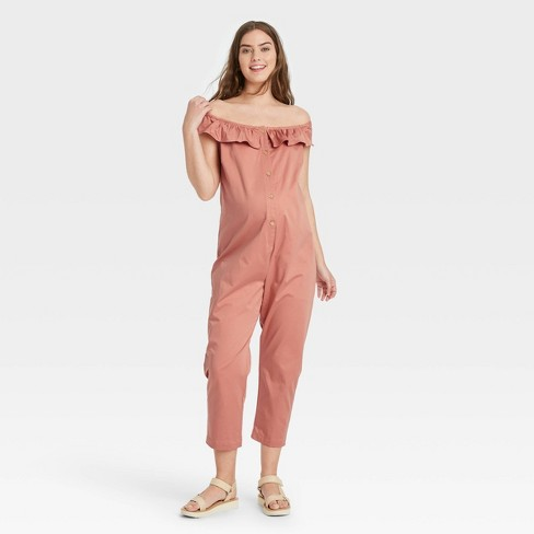 The Nines by HATCH™ Flounce Short Sleeve Off the Shoulder Button-Front Maternity Jumpsuit - image 1 of 3