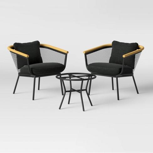 Bangor 3pc Metal Mesh & Faux Wood Patio Chat Set - Project 62™ - image 1 of 4