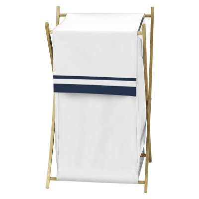 Sweet Jojo Designs White and Navy Hotel Laundry Hamper