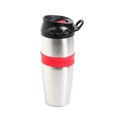 Mr. Coffee Java Supremo 16 Ounce Stainless Steel Thermal Travel Mug with Silicone Grip