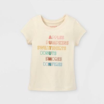 Toddler Girls' Autumn Short Sleeve Graphic T-Shirt - Cat & Jack™ Sand