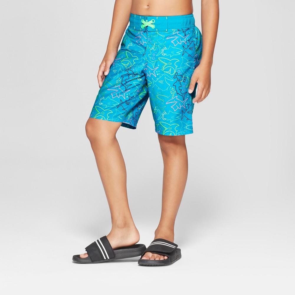 Boys' Neon Sharks Swim Trunks - Cat & Jack Blue XL Husky