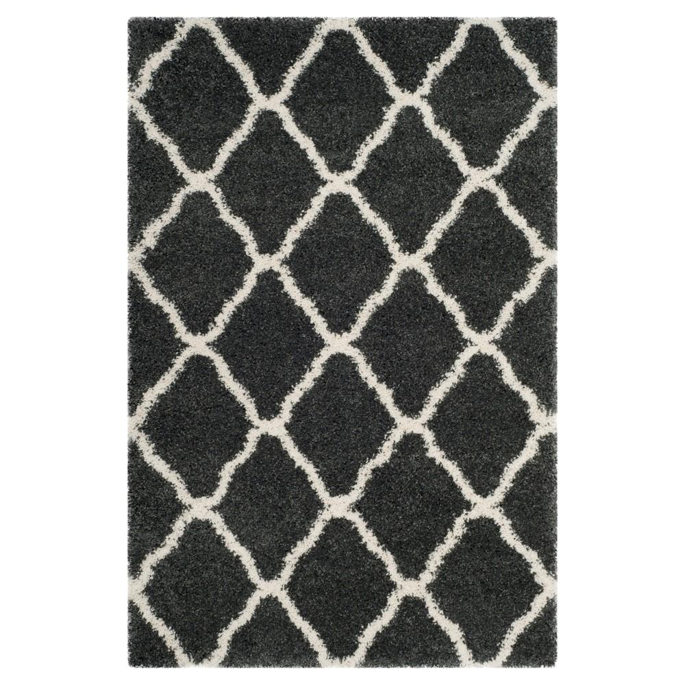 Dark Gray/Ivory Geometric Shag/Flokati Loomed Area Rug - (4'X6') - Safavieh