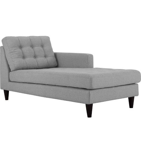 Empress RightArm Upholstered Fabric Chaise Light Gray - Modway - image 1 of 3