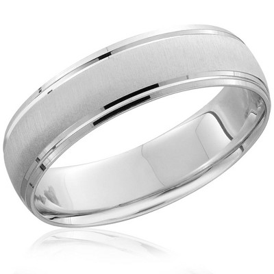 Pompeii3 Mens 6mm 14K White Gold Comfort Fit Wedding Band Ring