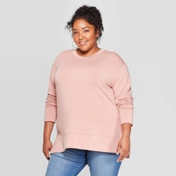 Women's Plus Size Long Sleeve Crewneck Sweatshirt - Ava & Viv™