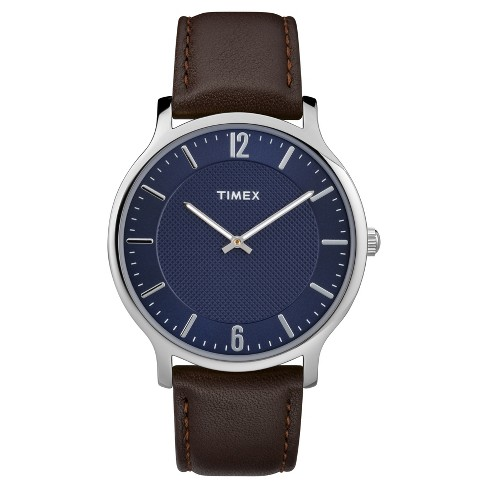 Men S Timex Metropolitan Watch With Leather Strap Silver Blue Brown