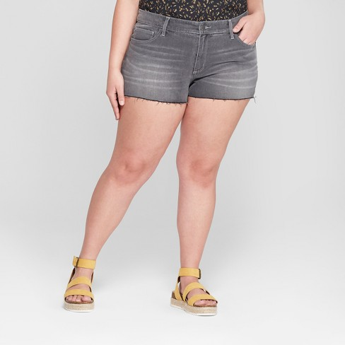 6caf46607e Women's Plus Size Mid-Rise Raw Hem Jean Shorts - Universal Thread™ Gray  Wash : Target