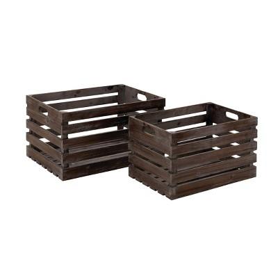 2pk Wood Wine Crates with Handles Dark Brown