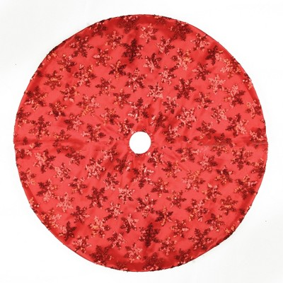 "Northlight 20"" Red Sequin Snowflake Pattern Mini Christmas Tree Skirt"