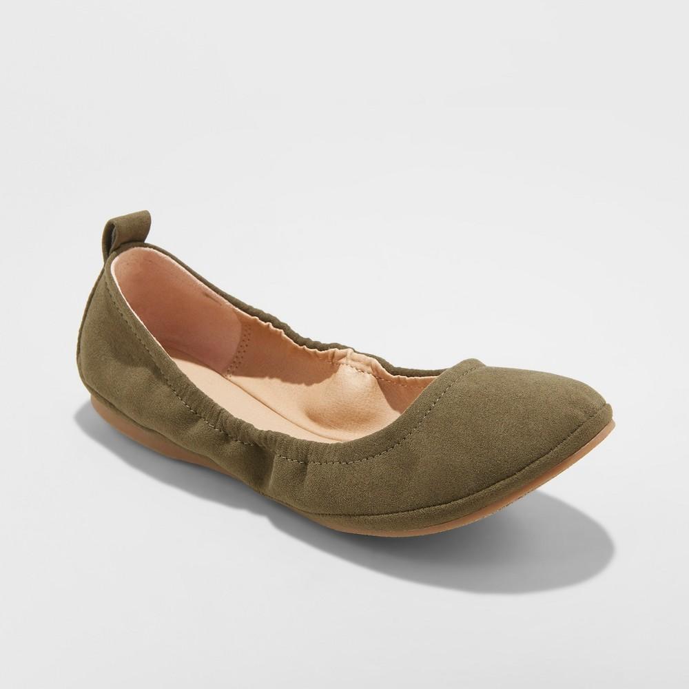 Women's Delaney Wide Width Round Toe Ballet Flats - Universal Thread Green 5W, Size: 5 Wide