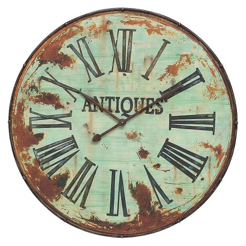 "42"" Round Metal Wall Clock Rusty Green Finish - 3R Studios® - image 1 of 1"