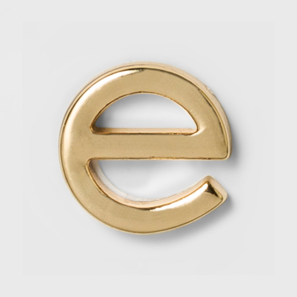 Women's Fashion Stick on Pin Letter e - Gold, Bright Gold Initial Letter - E