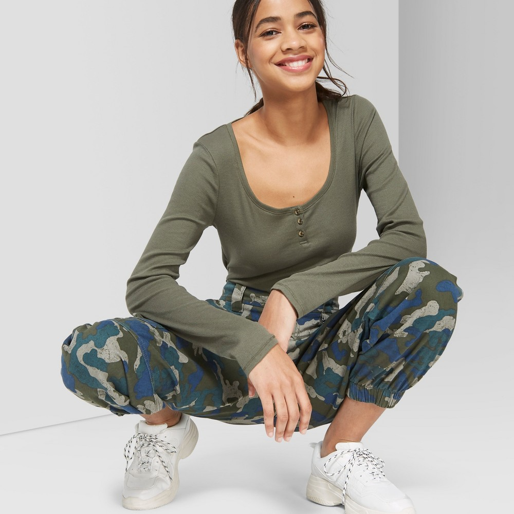 Women's Long Sleeve Scoop Neck Henley Button T-Shirt - Wild Fable Olive XL, Green
