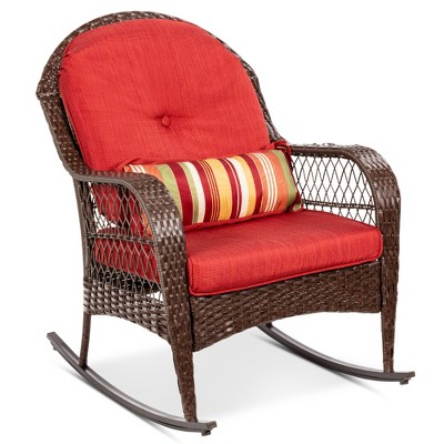 Best Choice Products Outdoor Wicker Rocking Chair for Patio, Porch w/ Steel Frame, Weather-Resistant Cushions - Red